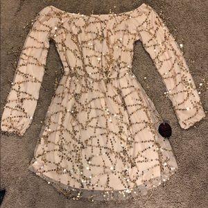 Dangling Glitter Dress Off-shoulders